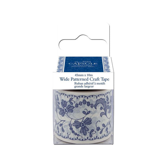 Papermania Wide Patterned Craft Tape - Capsule Collection - Parisienne Blue