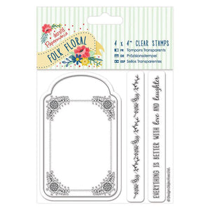 "Papermania 4 x 4"" Clear Stamp (3pcs) - Folk Floral - Tag"