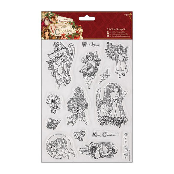 Papermania A5 Clear Stamps Set (14pcs) - Victorian Christmas - Cherub