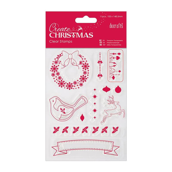 Docraft Create Christmas 105 x 148.5mm Mini Clear Stamp - Christmas Icons