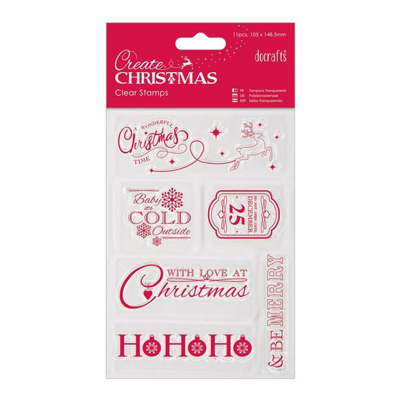 Docraft Create Christmas 105 x 148.5mm Mini Clear Stamp - Christmas Sentiments