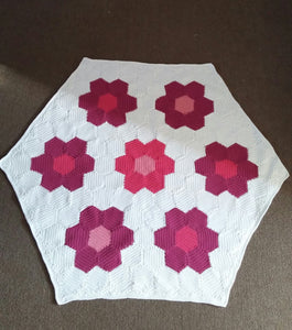 Patchwork Flowers Baby Blanket/Shawl - Exclusive to Crafts by Design