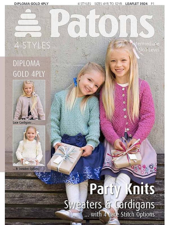 Girls' Party Knits Sweaters and Cardigans - Patons 3924