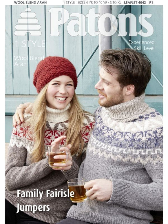 Family Fair Isle Jumpers Knitting Pattern - Patons 4042