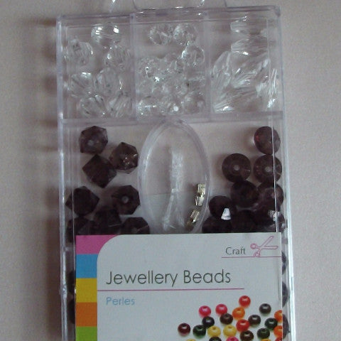 Jewellery Beads - Clear and Black