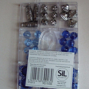 Jewellery Beads - Blue and Silver