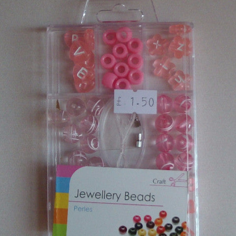 Jewellery Beads - Pink Letters