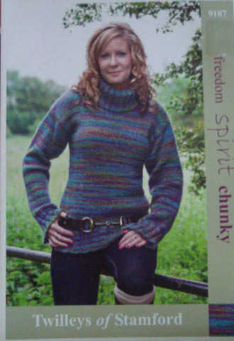 Knitted Polo Neck Sweater with Overlong Sleeves - Twilleys of Stamford 9187