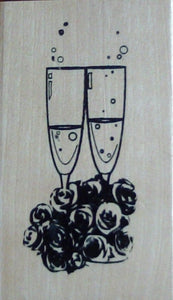 Champagne Bouquet Wood Mounted Rubber Stamp by Anita's