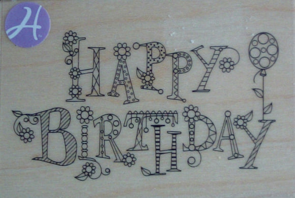 Happy Birthday Wood Mounted Rubber Stamp by Hampton Art