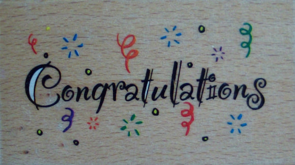 Congratulations Rubber Stamp - Whispers by Docrafts
