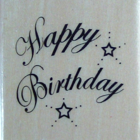 Square Wooden Stamp - Happy Birthday
