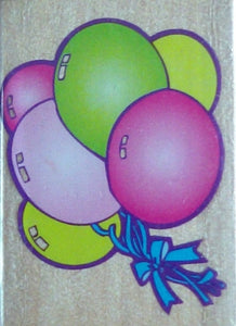 Balloons Wood Mounted Rubber Stamp