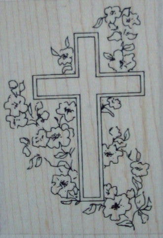 Floral Easter Cross Mounted Rubber Stamp by Personal Impressions