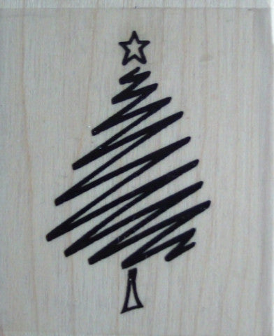 Big Scribble Christmas Tree Wood Mounted Rubber Stamp by Personal Impressions