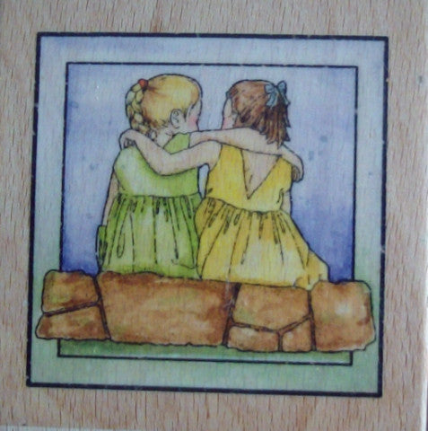 Friends Wood Mounted Rubber Stamp - Whispers by Docrafts