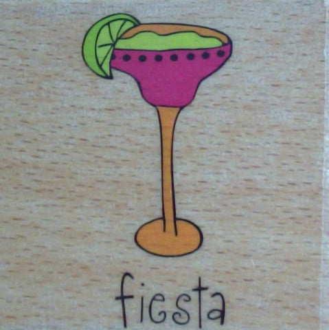 Fiesta Margarita Wooden Rubber Stamp - by Katie & Co