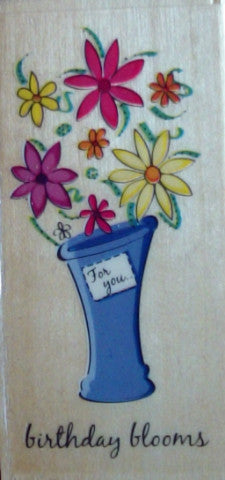 Birthday Blooms Wooden Rubber Stamps by Docrafts