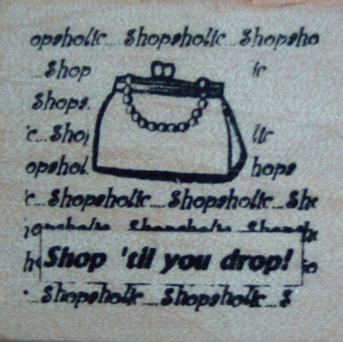 Square Wooden Stamp - Shopaholic