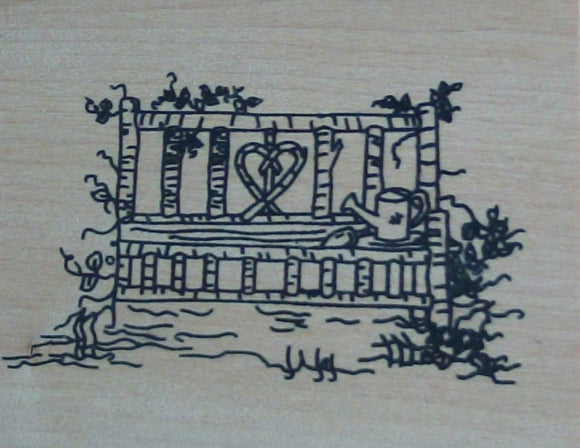 Love Seat Wood Mounted Rubber Stamp  by Mary Hughes