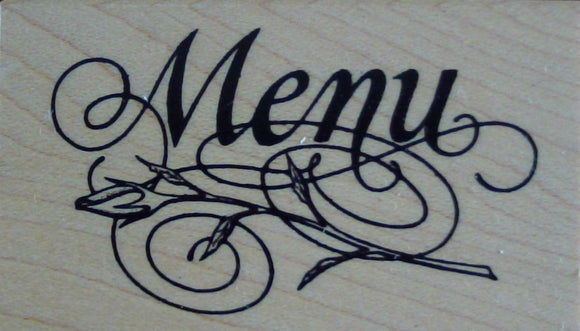 Menu Wood Mounted Rubber Stamp by Personal Stamp Exchange