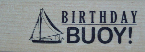 Birthday Buoy Wood Mounted Rubber Stamp - Papermania by Docrafts