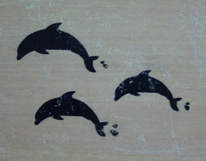 Dolphins Wood Mounted Rubber Stamp by Anita's