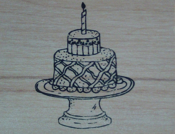 Birthday Cake Wood Mounted Rubber Stamp  by Mary Hughes