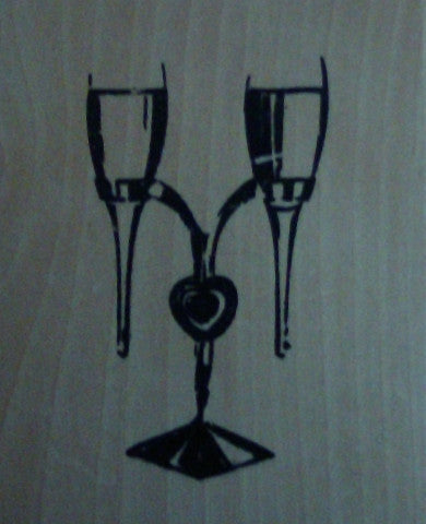 Champagne Glasses / Posy Vases Wood Mounted Rubber Stamp by Anita's