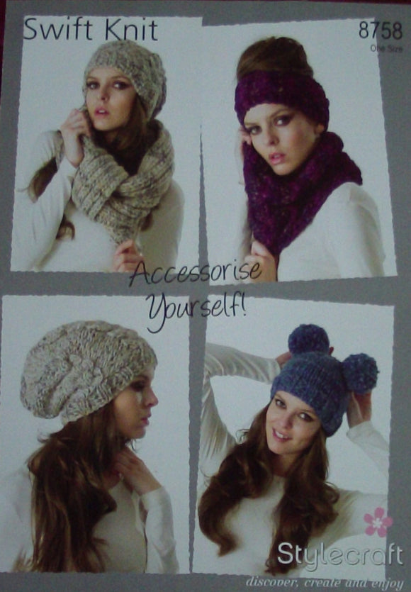 Hats, Headband, Neckwarmer & Snood Knitting Pattern - Stylecraft 8758