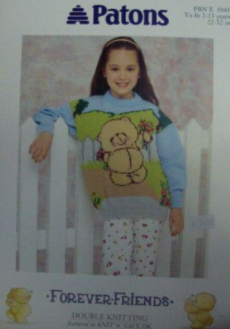 Childs Forever Friends Sweater - Patons 5045