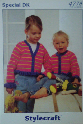 Girls Cardigan With Frilled Edge Knitting Pattern - Stylecraft 4776