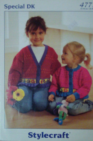 Girls Cardigan With Frilled Edge Knitting Pattern - Stylecraft 4777