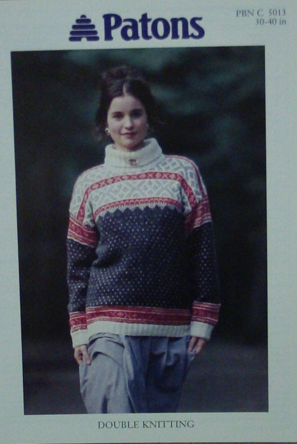 Ladies Roll Neck Fairisle Sweater Knitting Pattern - Patons 5013