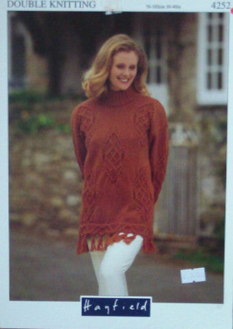 Ladies Cable Motif Sweater Knitting Pattern - Hayfield 4252