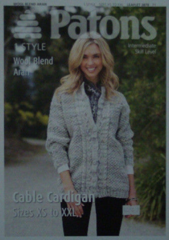 Ladies Cable Cardigan Knitting Pattern - Patons 3878