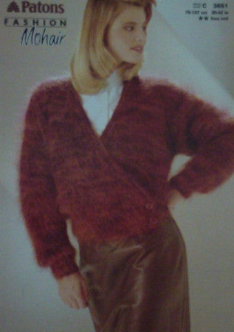 Ladies Ribbed Mohair Cardigan Knitting Pattern - Patons 3651