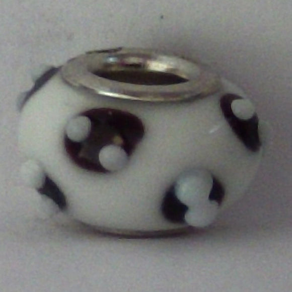 White Glass Lampwork Bead - Individual