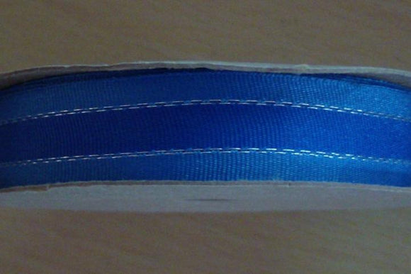 Grosgrain Ribbon - Blue and Silver - 15mm Wide