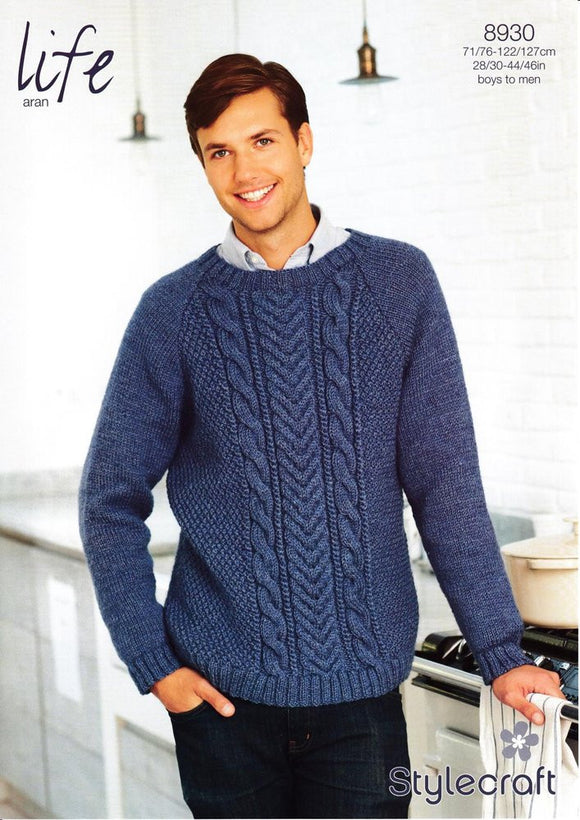 Men's/Boys' Round Neck Aran Jumper - Stylecraft Pattern 8930