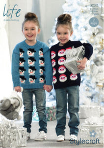 Child's Christmas Jumper Knitting Pattern - Stylecraft 9031