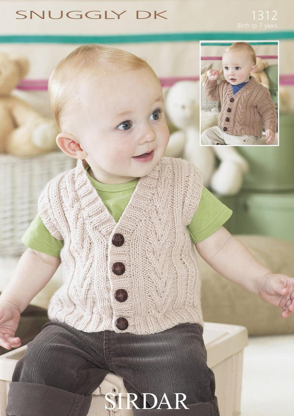 Baby/Childs Cardigan and Waistcoat Knitting Pattern - Sirdar 1312
