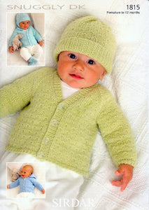 Babies Hoodie, Cardigan and Hat Knitting Pattern - Sirdar 1815