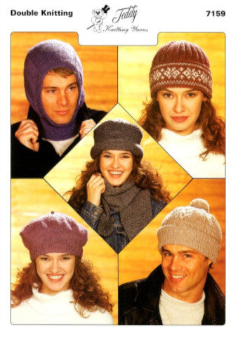 Adults' Hats Knitting Pattern - Teddy 7159
