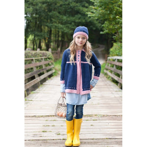 Girls' Fair Isle boarder Coat and Hat Knitting Pattern - West Yorkshire Spinners