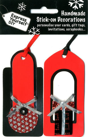 Handmade Stick-On Decoration – Red Black Tags