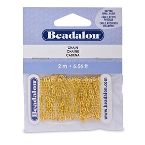 Beadalon Dapped Small Cable Chain - 2m Gold Colour