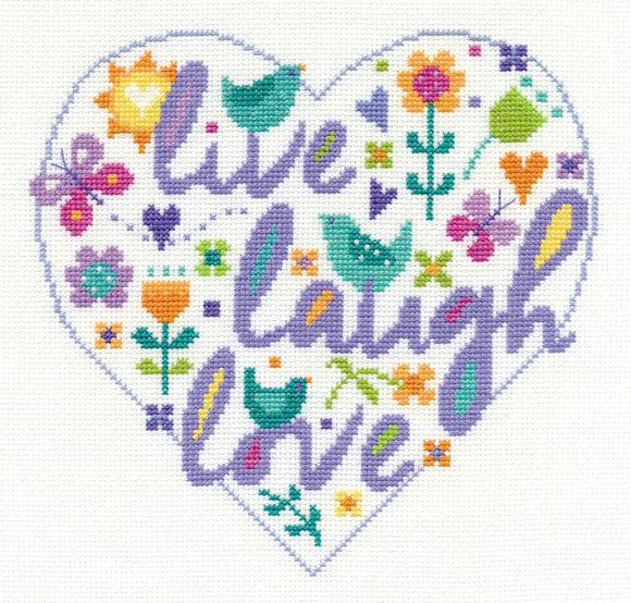 DMC Cross Stitch Kit - Modern - Live Laugh Love