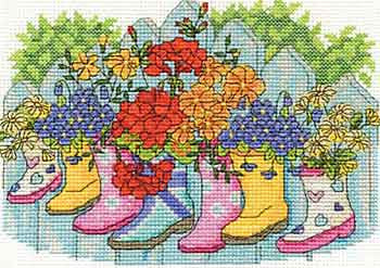 DMC Cross Stitch Kit - Flowers - Blossoming Wellies