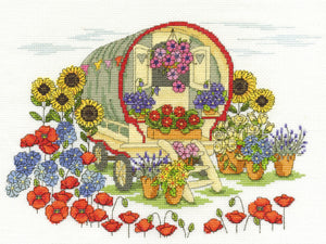 DMC Cross Stitch Kit - Flowers - Flower Caravan